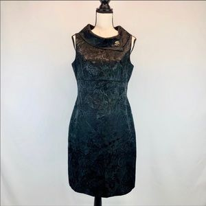 Tahari by Arthur S Levine Black Jacquard Dress W/B